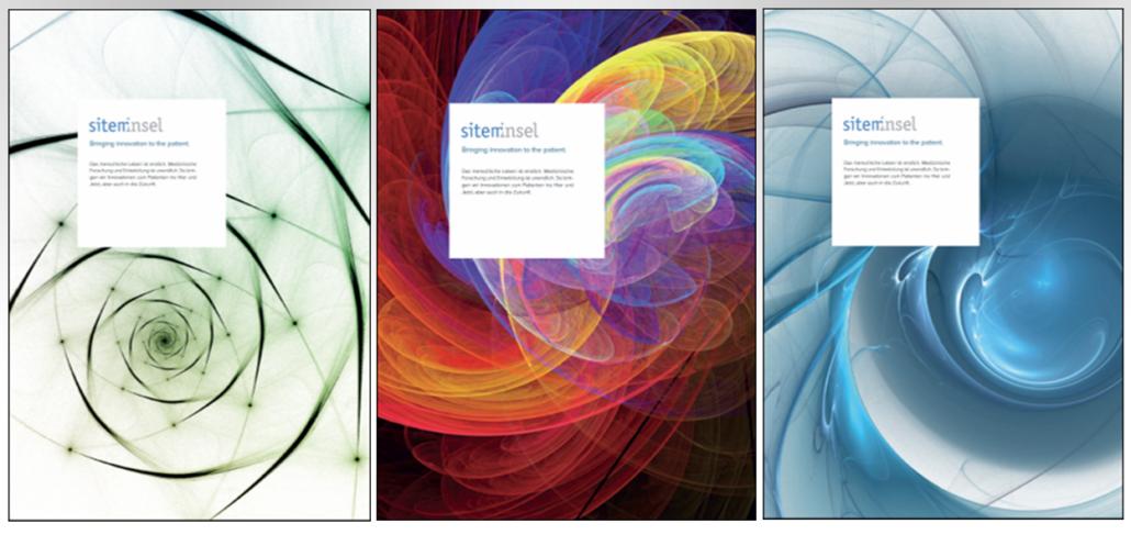 Drei verschiedene Variationen eines Fraktals in unterschiedlichen Farben.