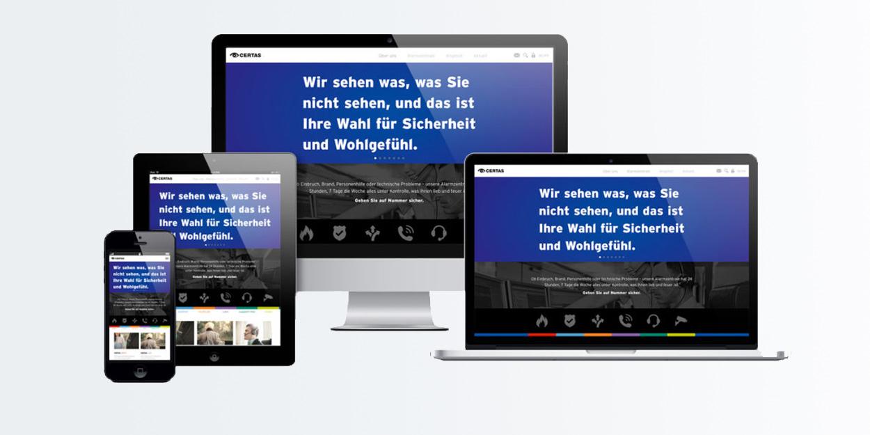 Mockup Desktop, Laptop und Tablet des neuen Certas Auftritts.